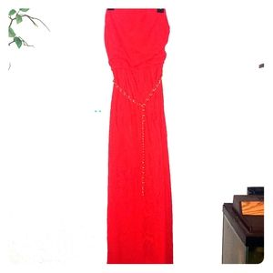 Cache womans straples long red dress